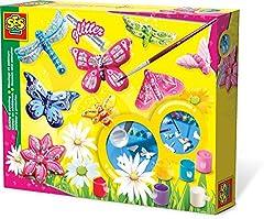 SES creative   gießen und malen. Große Relief-Gussformen mit Schmetterlingen und Libellen. 6 Malfarben,Glitter,Pinsel und Gips.    Achtung: Nur für Kinder ab 5 Jahre.Benutzung unter Aufsicht von Erwachsenen. Verschluckbare Kleinteile. Neu + ovp