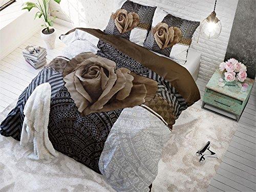Bettwäsche Sleeptime Garden Rose 2, 200cm x 220cm, Mit 2 Kissenbezüge 60cm x 70cm, Braun (Bettwäsche-set Rose Garden)
