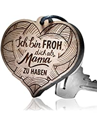 """Schlüsselanhänger Holz Herzform - """"Ich bin froh, dich als Mama zu haben!"""""""