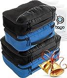 4Pz Bago Cubi Di Imballaggio - Set per Viaggi (2Black+2BlueTale)+ 6Pz Sacchetti Organizzatori per i bagagli