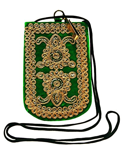 Frizione Donne Sacchetto Mobile Etnici Borsa Hippie Croce Ricamata Corpo Della Borsa Della Borsa Verde