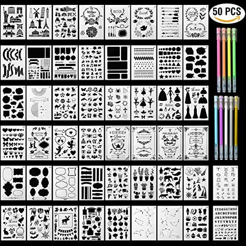HUYU Schablonen Set, 50PCS Zeichenschablonen, Bullet Journal Schablonen Set, Malerei Zeichen Muster, Wiederverwendbare Plastikschablonen mit vielen Motive und 9 Farben Filzstift, 12,7 x 17,8 cm