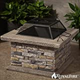 RoyalFire RFJC19802WBF-NS Square Fibreglass Wood Burning Fire pit - Natural Stone