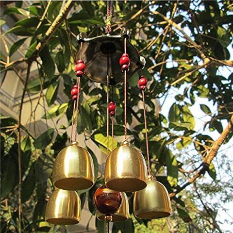 Carillon de Vent Feng Shui Cloches en Métal Bronze Décor Suspendu Jardin