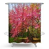 Bishilin 3D Anti Schimmel Duschvorhang Blume Duschvorhang Waschbar aus Polyester-Stoff 180x180 cm