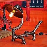 Aiehua Robot in ferro battuto Lampada da tavolo Lampada da scrivania Personalità a soppalco Pipa ad acqua creativa Rettile Lampada da tavolo Lampada da scrivania Caffè Bar Cucciolo vintage Lampada da