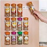 Yontree Plastic White Spice Gripper Clip Strips Cabinet Door Organizer Rack -Hold 20 Jars