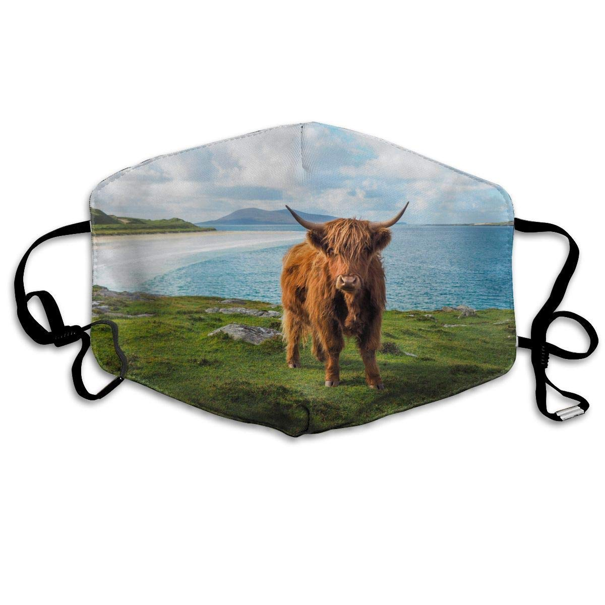 Daawqee Máscara de Boca, Highland Cow by The Sea Adult Fashion Mascarilla Washable Safety 100% Polyester Comfortable Breathable Health Half Face Masks