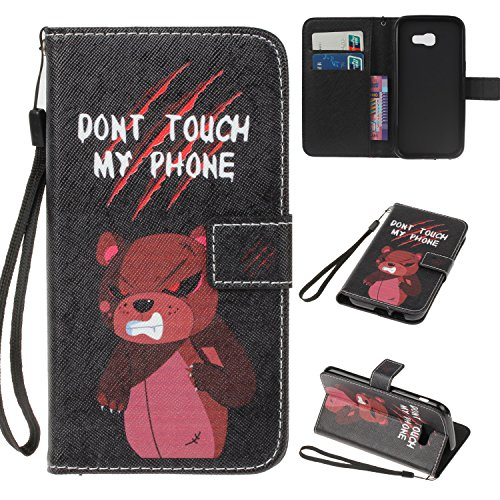 Samsung Galaxy A3 2017 Hülle Case, Cozy Hut Retro Painted Muster Prägung Ledertasche Slim PU Leder Bookstyle Handyhülle Tasche Flip Wallet Case mit Strap Portable Handytasche Anti-Scratch Shell Cash Pouch ID Card Slot Magnetverschluss Etui Soft Silikon für Samsung Galaxy A3 2017 Ledertasche Tasche Handyhülle Schutzhülle Cover Etui Handycase Wallet mit Standfunktion - Bären