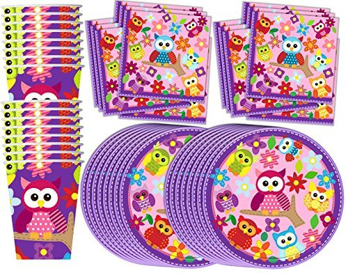 Patchwork Owl Birthday Party Supplies Set Plates Napkins Cups Tableware Kit for 16 (Owl Supplies Party)