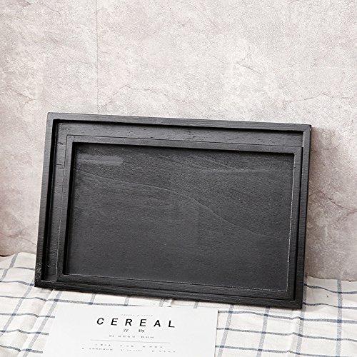 XBR das restaurant _ holz tee - tablett tablett antiken schwarzen lack hölzerne besteckkasten mit kiefer tee - tablett,flache 36 * 24 * 2 cm (Antikes Rundes Tablett)