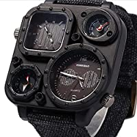WENY Reloj de Pulsera para Hombre Cuarzo Dos Zonas horarias Nylon Muñequera Amuleto Negro (Color : Black)