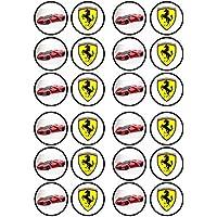 Sport Car Ferrari commestibili di spessore dolcificati vaniglia, Carta di riso topper per Cupcake e decorazioni
