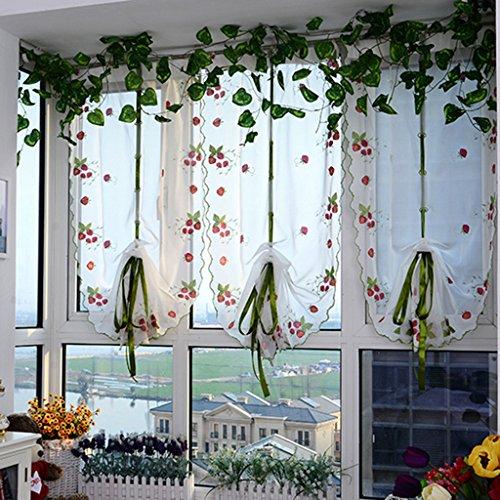 Nclon altezza regolabile le tende tenda per finestra,oscuranti oscurante eleganza ricamo balcone camera da letto voile le tende tenda per finestra-pannello verde 1 w80cm*d200cm