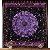 Zodiac Tapiz colgante de pared horóscopo tapiz indio astrología Reina tamaño 84 x 90, signo del zodiaco colcha, algodón colcha, Picnic Bedsheet Manta,
