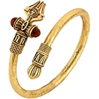Fas +Pure Brass Rudraksha Shiv Trishul Damroo Designer Om Kada Free Size For Men,Boys.