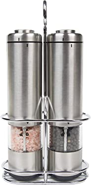 Battery Operated Salt and Pepper Grinder Set - Electric Stainless Steel Salt&Pepper Mills -Tall Power Shakers with Stand - Ce