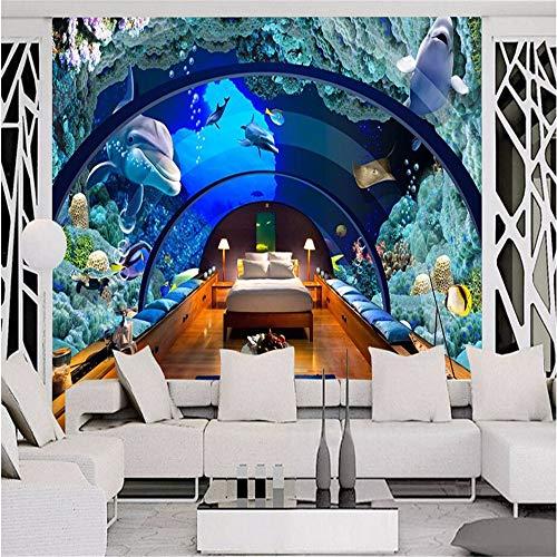Murale Fotomurali Carta Da ParatiCarta Da Parati Qualsiasi Dimensione 3 D Hd Wallpaper Foto Mondo Subacqueo Acquario Murales 3 D Salotto Tv Parete Impostazione Muro, 300 * 210 Cm