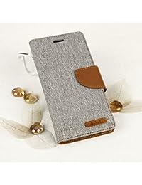 EGO® Luxury Bookstyle Handy Tasche mit praktischer Aufstellfuntkion für Samsung Galaxy A5 A510 (2016) Grau Flip Case Magnetverschluss Book Cover mit Kartenfach Wallet Stand Schutz Hülle Canvas