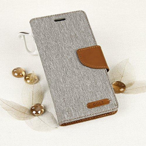 EGO® Bookstyle Handy Tasche mit praktischer Aufstellfuntkion für Sony Xperia M5 Grau Flip Case Magnetverschluss Book Cover mit Kartenfach Wallet Stand Schutz Hülle Canvas