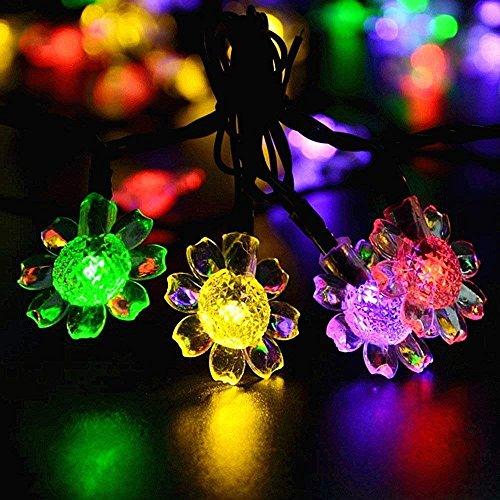 Solare Fiore Luce Stringa,KINGCOO Impermeabile 21ft 50LED Girasole Lampada Solare Luci Corda Catene Luminose Decorativa per Esterno Natale Matrimonio Giardino Paesaggio illuminazione (Multicolore)