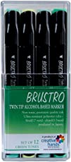 Brustro Twin Tip Alcohol Based Marker Set Of 12 - Green Tones . (+ 4 Markers)