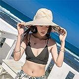 GAOQIANGFENG Womens UPF 50 + Hüte, Frauen, Sommer, große Sonnenschirme, Mode, Outdoor, Sonnenschutz, Sonnenschutz, Falten, Beige