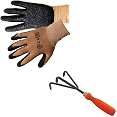 Trust Basket Composting Accessories (Gardening Gloves, Hand Garden Cultivator)For Cultivating The Soil/Compost, With 3 Prongs And Set Of 2 Hand Gloves
