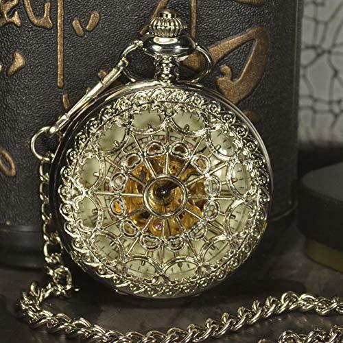 ERDING Taschenuhr,Silber Skeleton Taschenuhren Herren Antique Luxury Halskette Steampunk Automatic Mechanical Pocket & Watch Chain