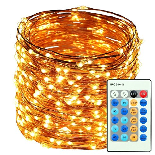Fairy Lights Fairy String Lights Plug Operated Waterproof (8 Modes,500 LED 165ft) String Lights Copper Wire Firefly Lights Remote Control for DIY Wedding Party Dinner (Warm White)