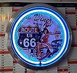 Neon Horloge Neon Clock pinup Route 66Diner Horloge murale lumineux bleu fluo-Disponible Aussi avec d'autres couleurs fluo.