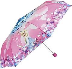Disney Frozen Kinder Schirm für Mädchen - Taschenschirm mit Elsa - Leichter Kompakter und Windfester Regenschirm - Pink - 7+ Jahren - Durchmesser 91 cm - Perletti