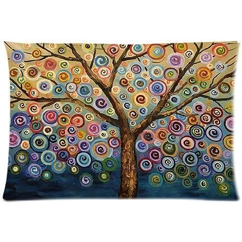 Hidoon® Árbol de amor del arco iris de onda Candys de lunar adorable linda Cotton & amp personalizada; Funda de almohada de poliéster suave rectangular cubierta de 20X30