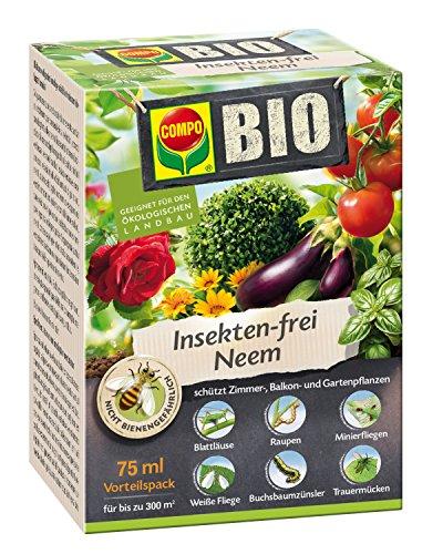 Schädlingsbekämpfung (COMPO BIO Insekten-frei Neem, Bekämpfung von Schädlingen an Zierpflanzen, Kartoffeln, Gemüse und Kräutern, 75 ml, 300m²)