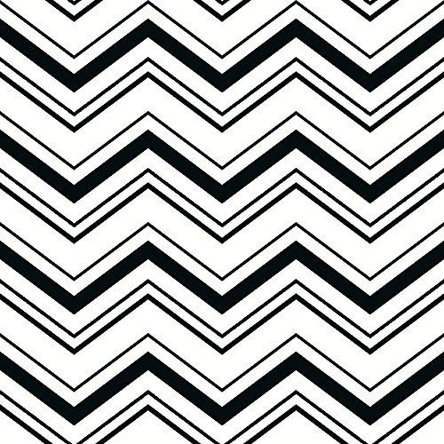 Tapeten Und Chevron Schwarz Weiß (York Wallcoverings schwarz und weiß Chevron Tapete Memo Probe, White .70, Wallpaper)