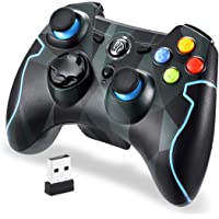 Manette sans Fil, EasySMX 9103 2.4G Manette PC Connectée par USB, Manette PS3 avec Dualshock et Turbo, Compatible pour PC Windows XP/Vista, Windows 7/8/8.1/10, PS3, Android(Via OTG)(Camouflage)