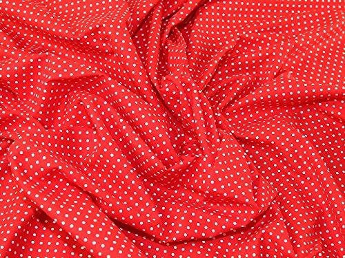 Rot Polka Dot Baumwolle Kleid (2mm Spotty Polka Dot Print Kleid aus Baumwolle Stoff Weiß auf Rot-Meterware)