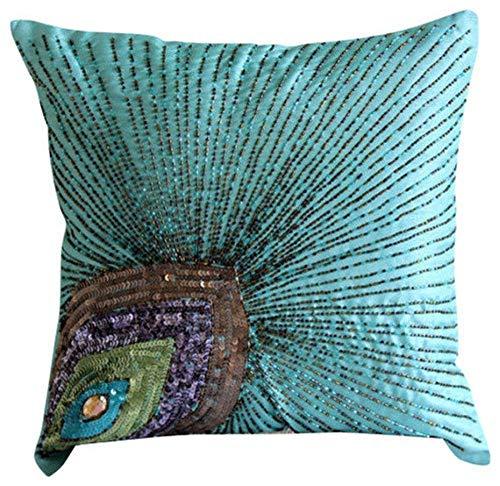 Peacock Grace - 65 x 65 cm Ein aqua-blau Seiden Euro Sham Kissenbezug mit Pailletten- und Perlen-Stickerei -
