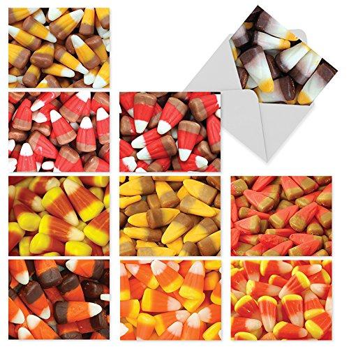 M5003sl Corny Bondies: 10 verschiedene Halloween-Notizkarten bieten Bilder von Halloweens Lieblingssüßigkeiten in all seinen verschiedenen Gloren, mit weißen Umschlägen.
