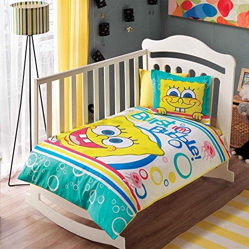 100% Bio-Baumwolle Weich und gesund Baby für Kinderbett, Bettbezug Set 4Stück, Sponge Bob Bubble Offiziell Bettwäsche-Set