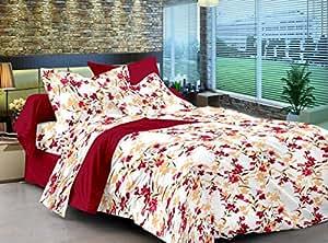 Cenizas 100% Cotton Double Bedsheet Set (177 A) (White Queen)