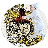 Wetia Totenkopf Gold Kerze Runder Teppich für Kinder rutschfeste Außenteppiche, superweich für Wohnzimmer, Kinderzimmer, Babyzimmer, Balkon, Kreis 80x80