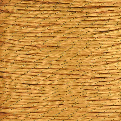 PARACORD PLANET Reflektierende 7-Strand Reißfestigkeit 4mm Parachute Cord Paracord Seil Made in USA-mit Reflektierendem Tracers, Reflective Gold, 25 Feet