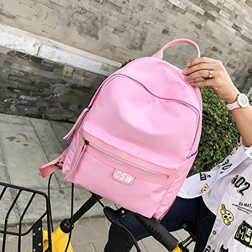 Moda Donna Oxford Solid School Borse Viaggio Zaino Borsa di Kangrunmy Rosa