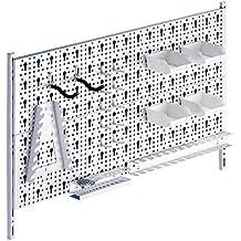 Element System Werkzeuglochwand aus Metall plus 19 teilig Werkzeughalterset inklusive Schrauben und Dübel, weiß, 11300-00004