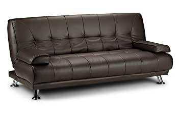 Limitless Base Venice Faux Leather Sofa Suite Sette Sofabed With Chrome  Feet (Brown)