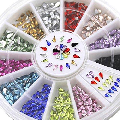 Bijoux d ongles gouttes 12 couleurs 3mm