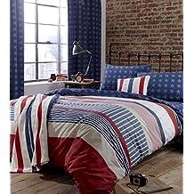 American de estrellas y rayas rojo blanco azul Funda de edredón & sábana bajera ajustable