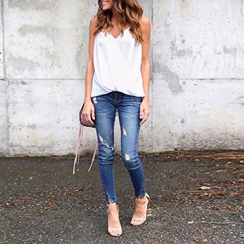 Ai.Moichien Reizvoll Damen V Ausschnitt Schulterfrei Trager Sommer Chiffon Shirt T-Shirts Oberteil Top Hemd Blusen Weiß