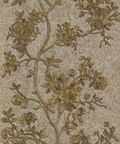 roberto-cavalli-wallpaper-caracteristica-modelada-floral-brown-del-oro-de-70-